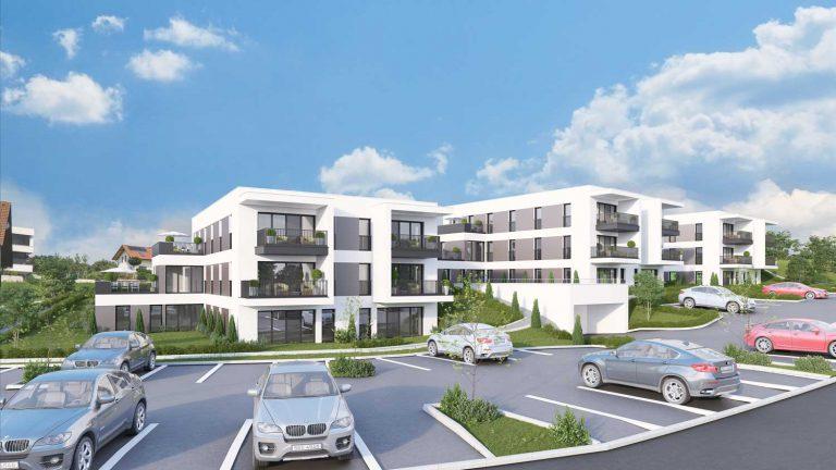 3D Rendering Eigentumswohnung Unterweitersdorf Südwest Ansicht