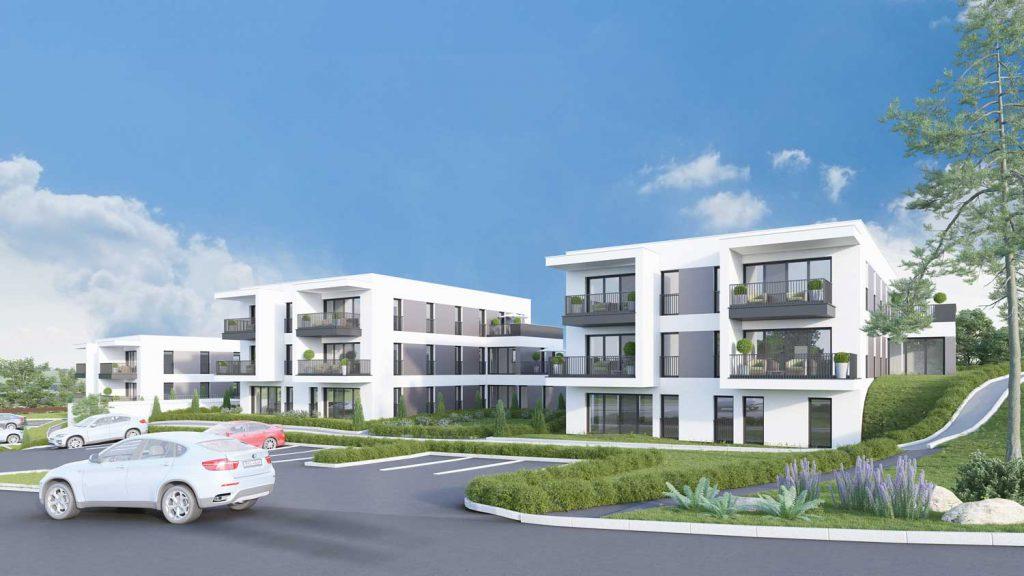 3D Rendering Eigentumswohnung Unterweitersdorf Südost Ansicht