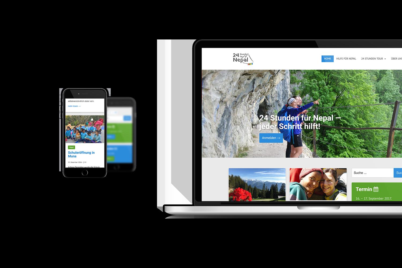 24 Stunden für Nepal Responsive Website - Laptop und Mobiltelefon