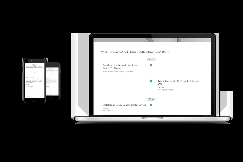 Ernährungstherapie Schicker Responsive Website - Laptop und Mobile Ansicht