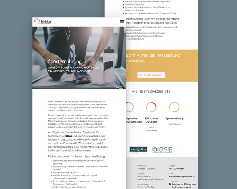 ernaehrungstherapie.at Schicker Responsive Website - Tablet Ansicht