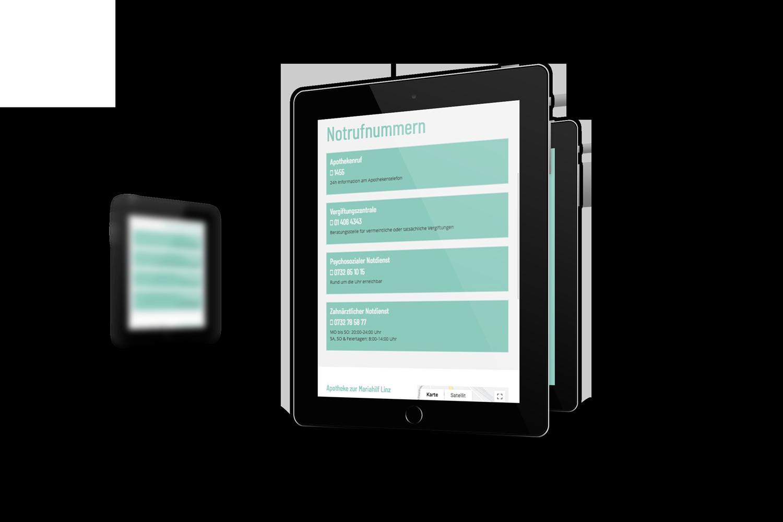 apothekelinz.at Responsive Website - Tablet Ansicht