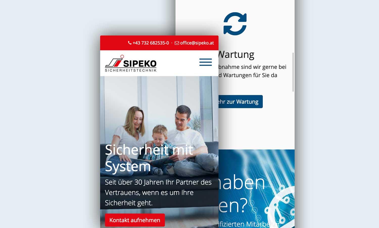 sipeko.at Responsive Website - mobile Ansicht