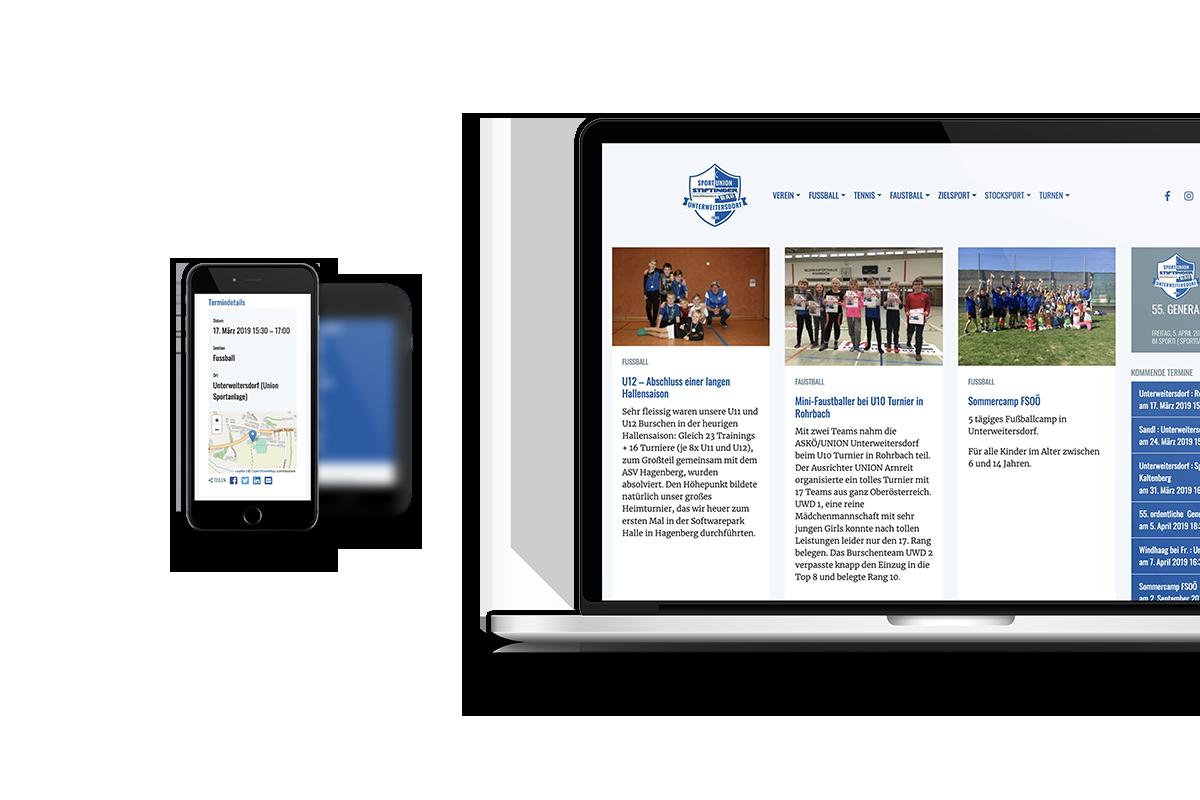 union-unterweitersdorf.at Responsive Website - Handy und Laptop Ansicht