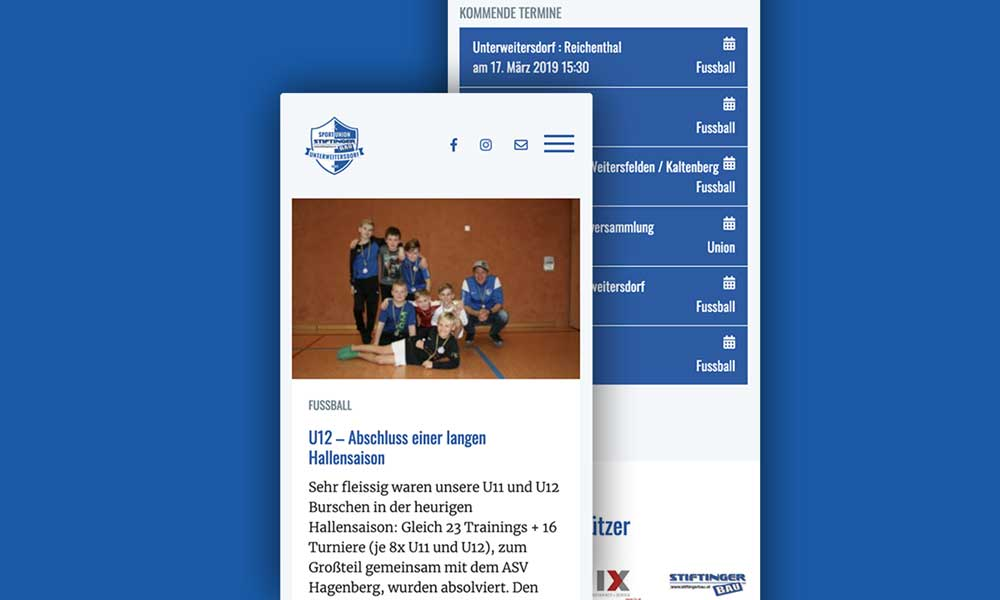 union-unterweitersdorf.at Responsive Website - Mobile Ansicht