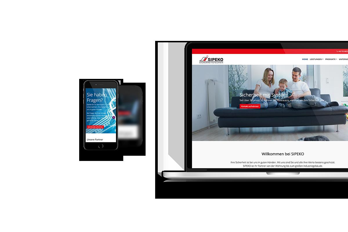 sipeko.at Responsive Website - Handy und Laptop Ansicht